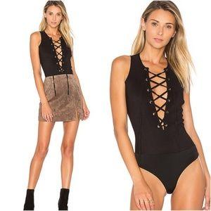 Tularosa XS Lace Up Body Suit Black Nile